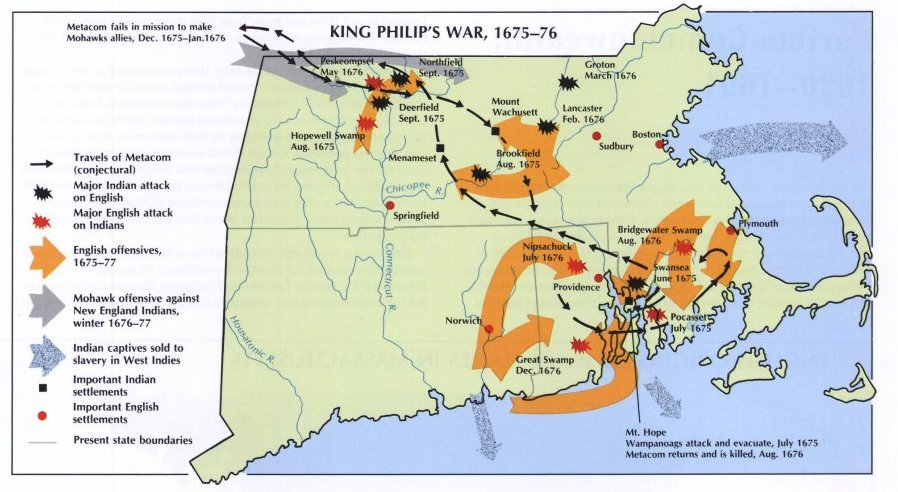King Philips War, new England Map