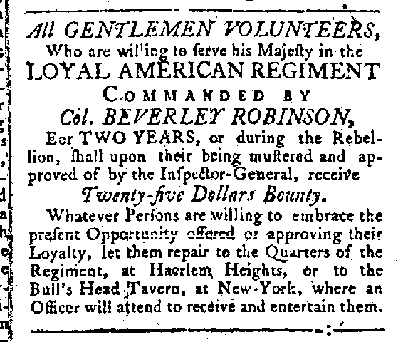 Recruiting Loyalists for the British Army